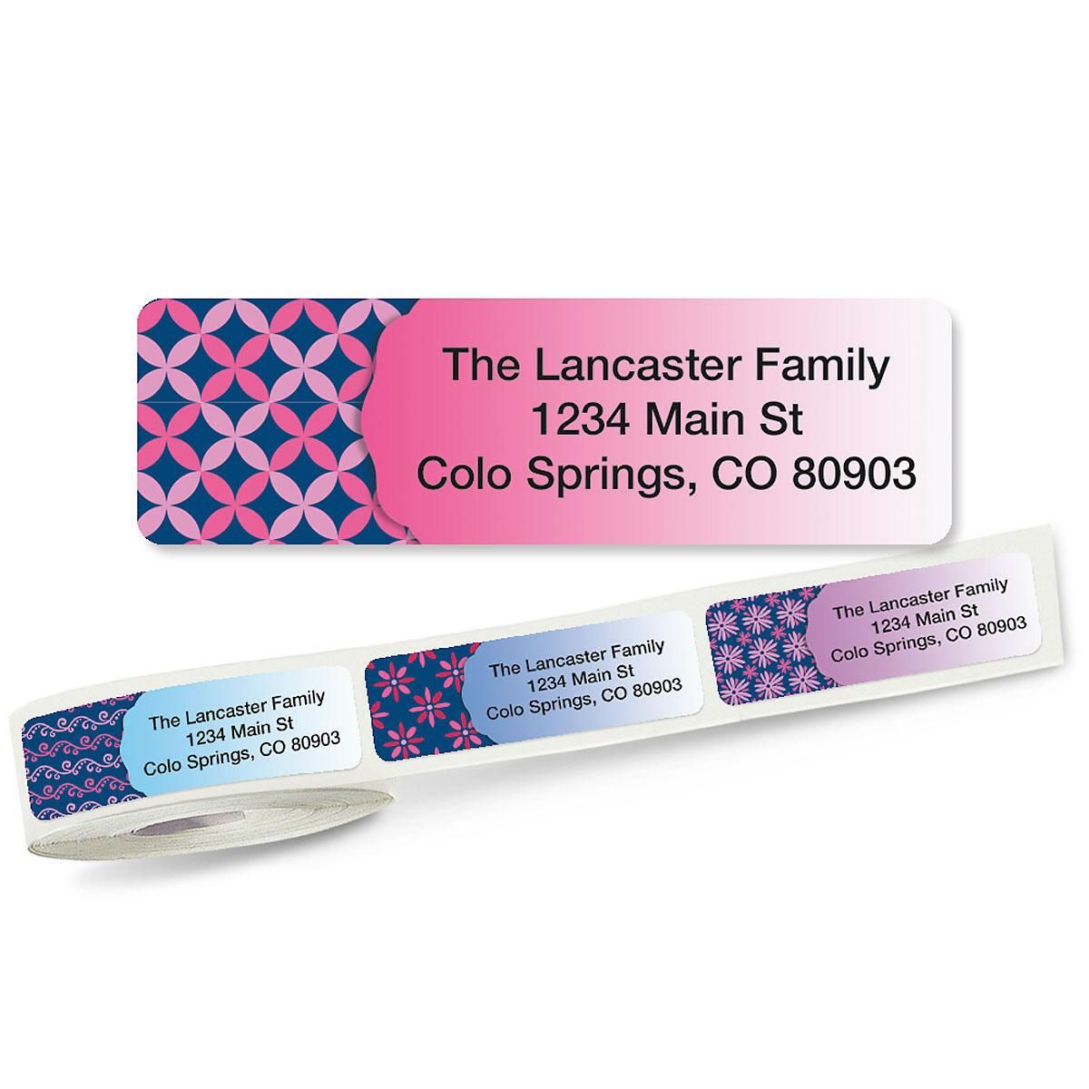 Colorful images address labels