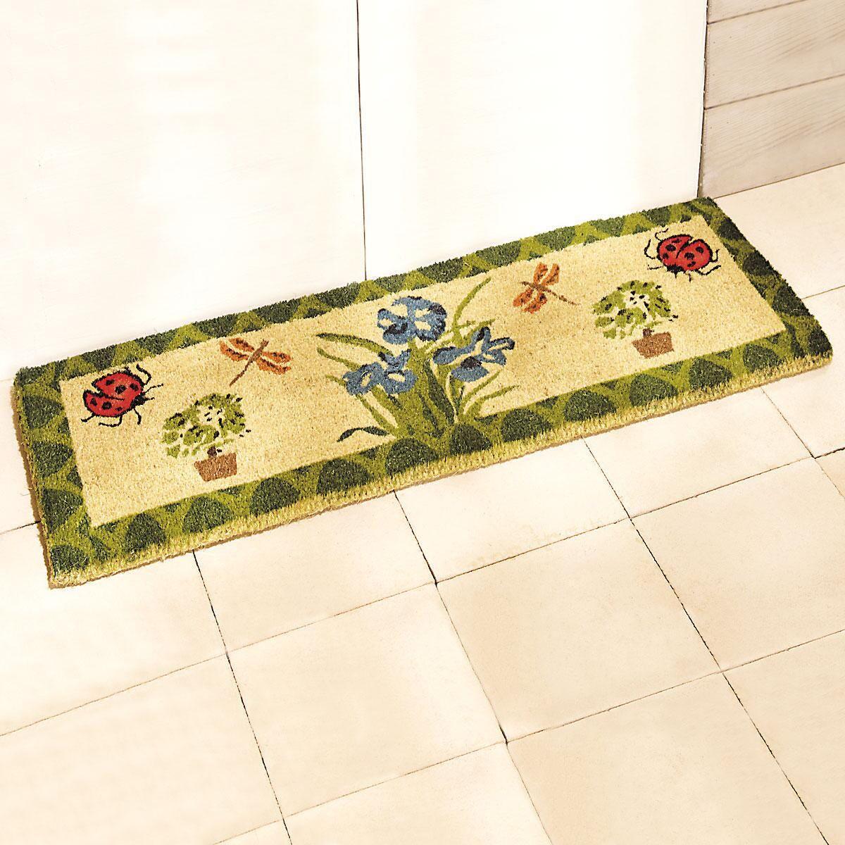 Floral Design Double-Wide Coco Doormat