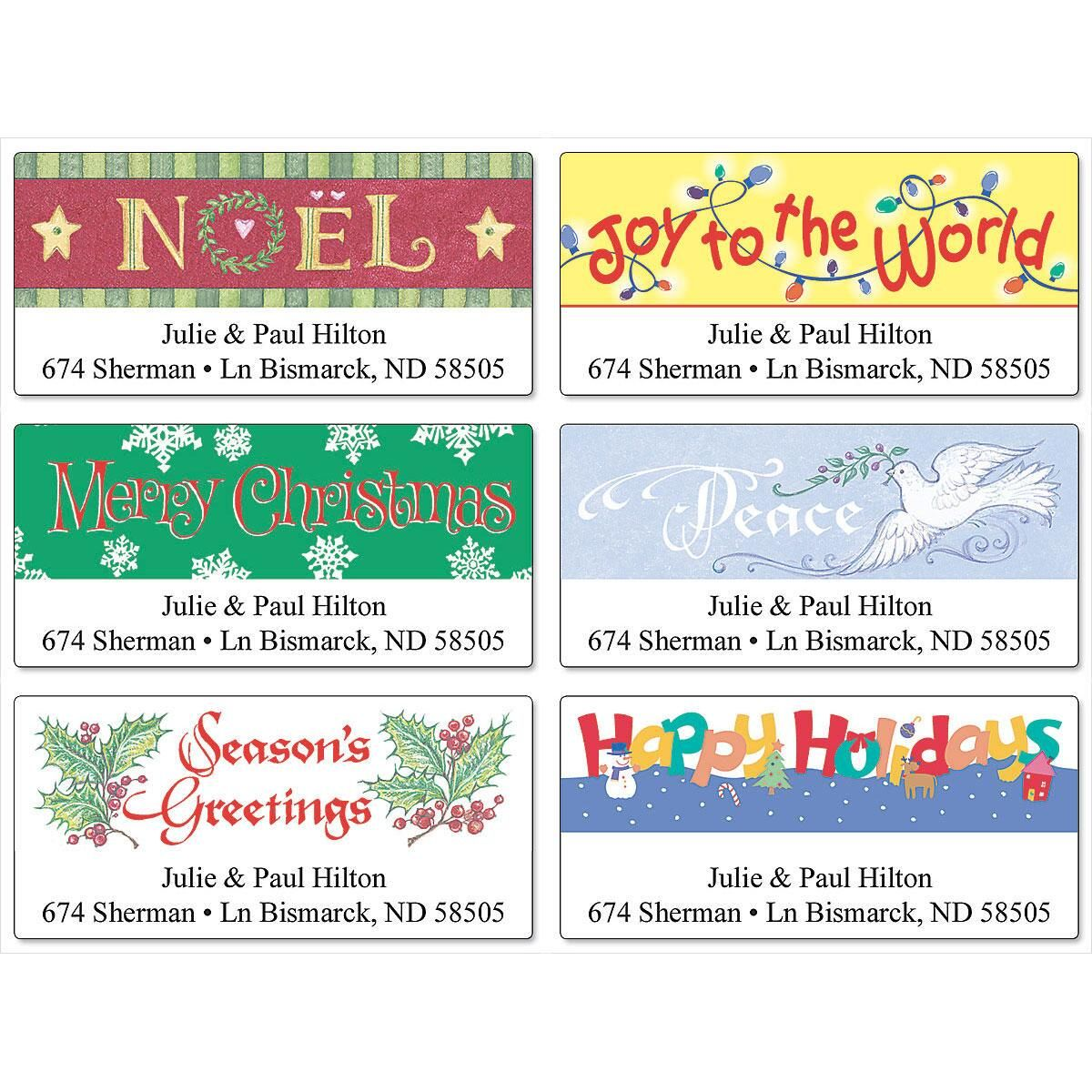 Holiday Greetings Deluxe Return Address Labels  (6 designs)