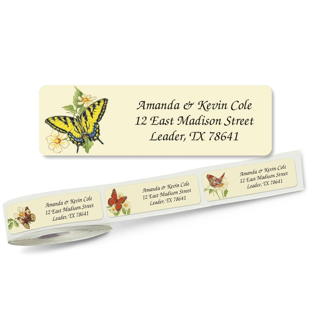 Butterflies Rolled Return Address Labels  (5 Designs)