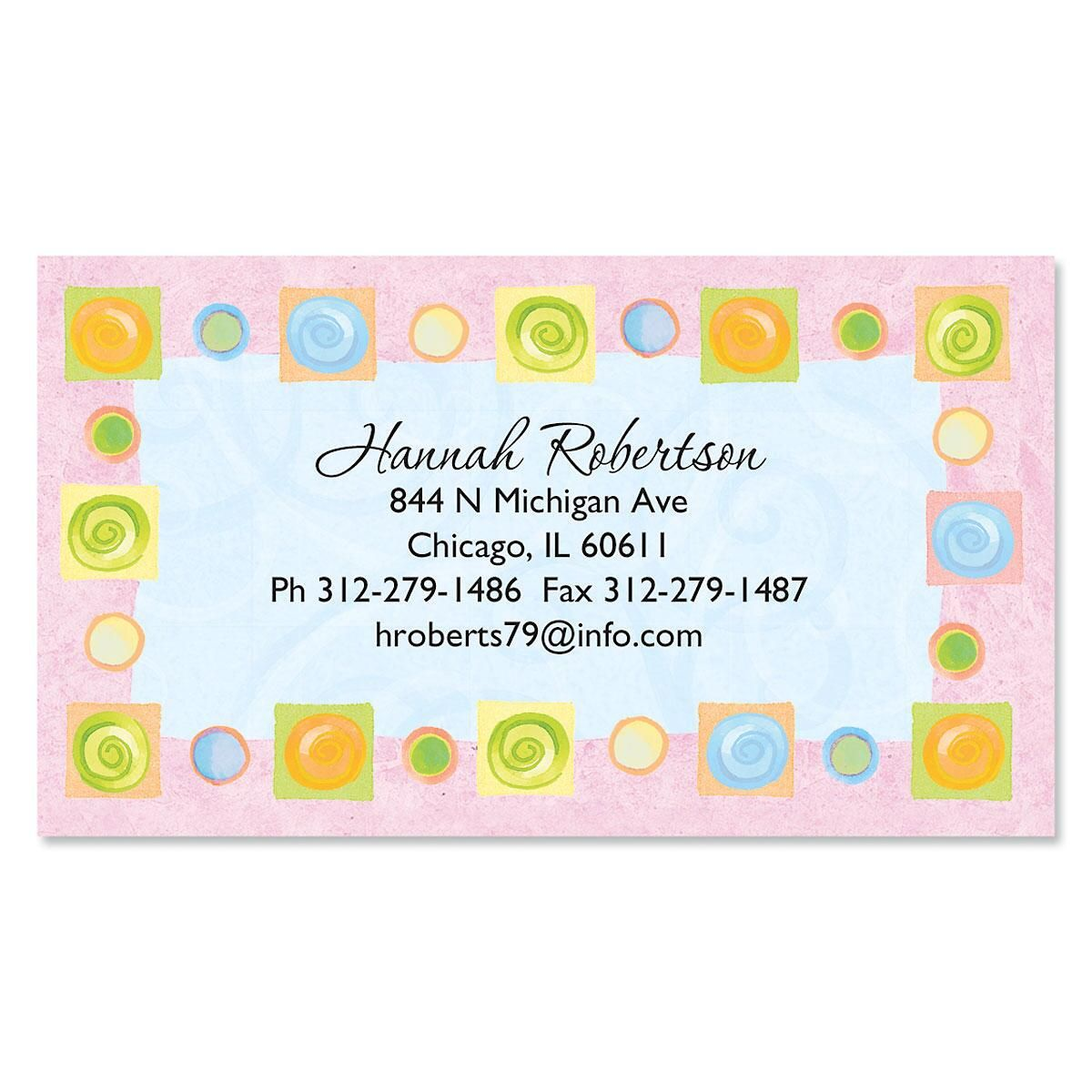 Pink Border Blocks Business Cards