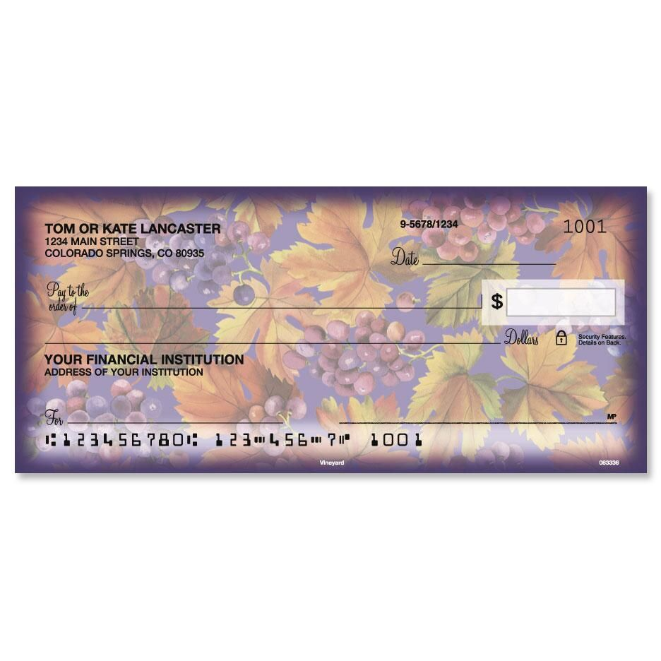 Vineyard personal checks colorful images for Cool check designs