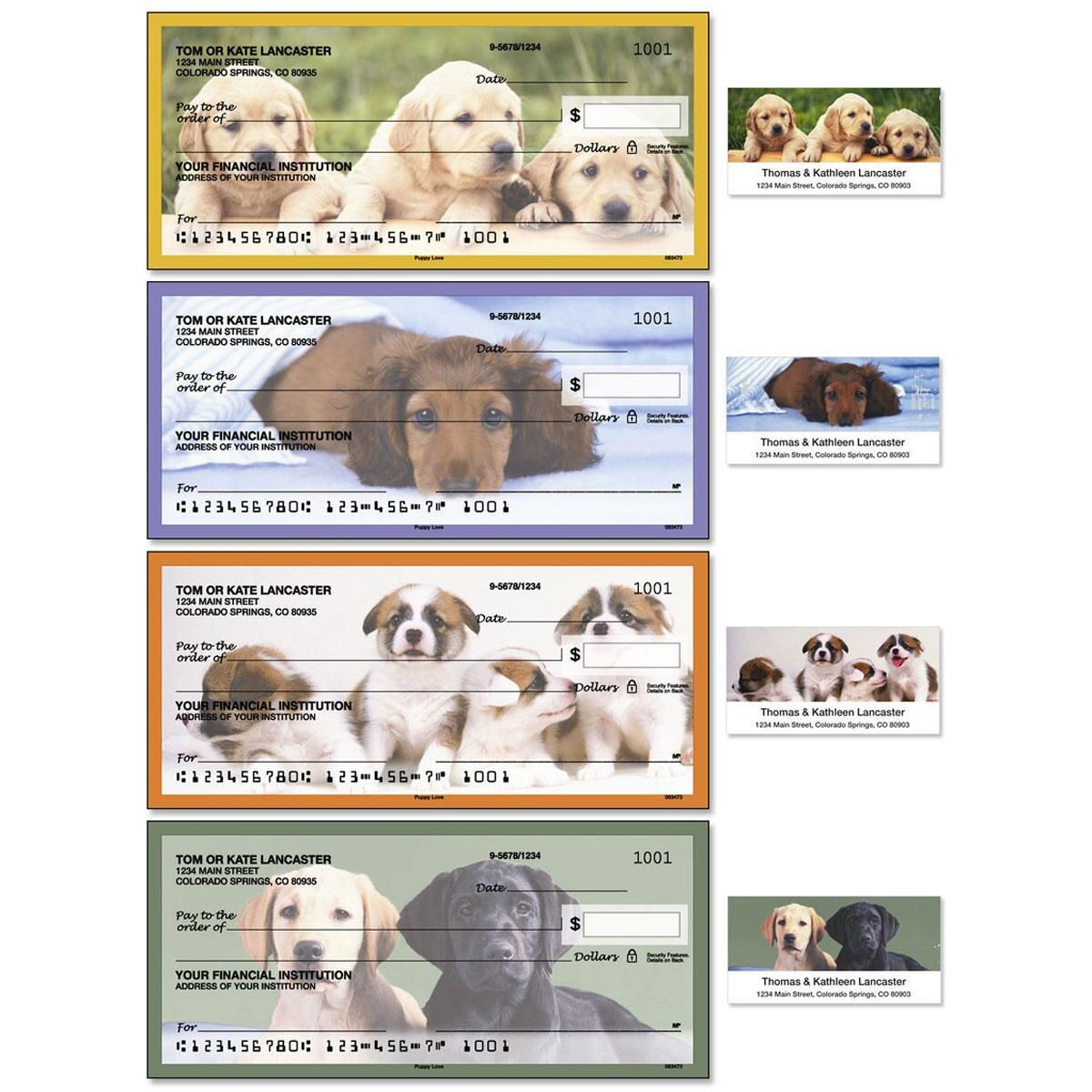 Puppy Love Single Checks with Matching Address Labels