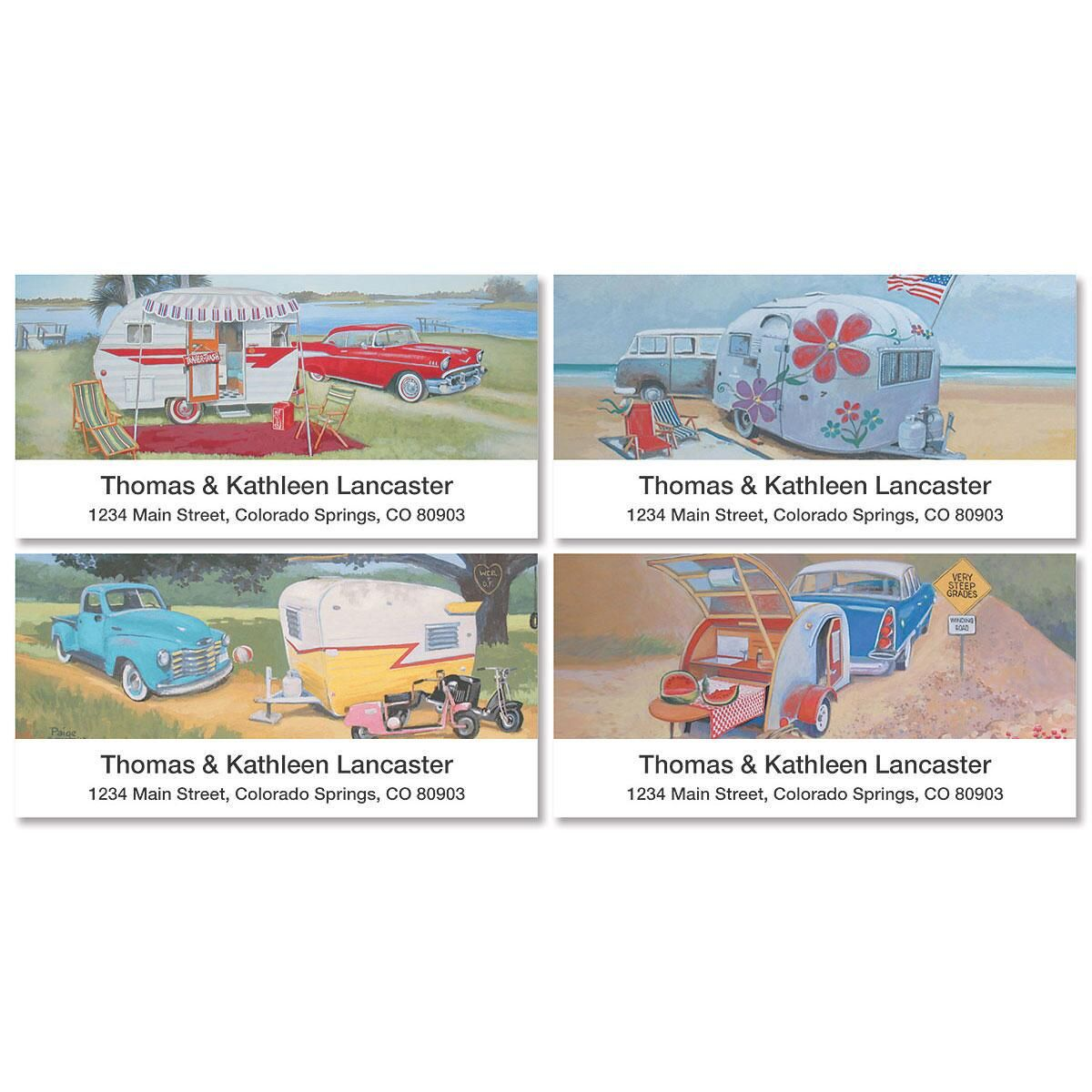 Vintage Trailer Deluxe Address Labels  (4 Designs)