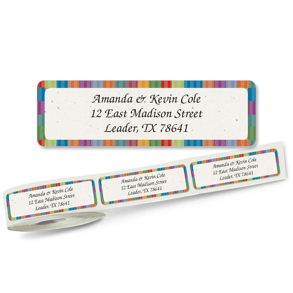 Bright Stripes Rolled Return Address Labels