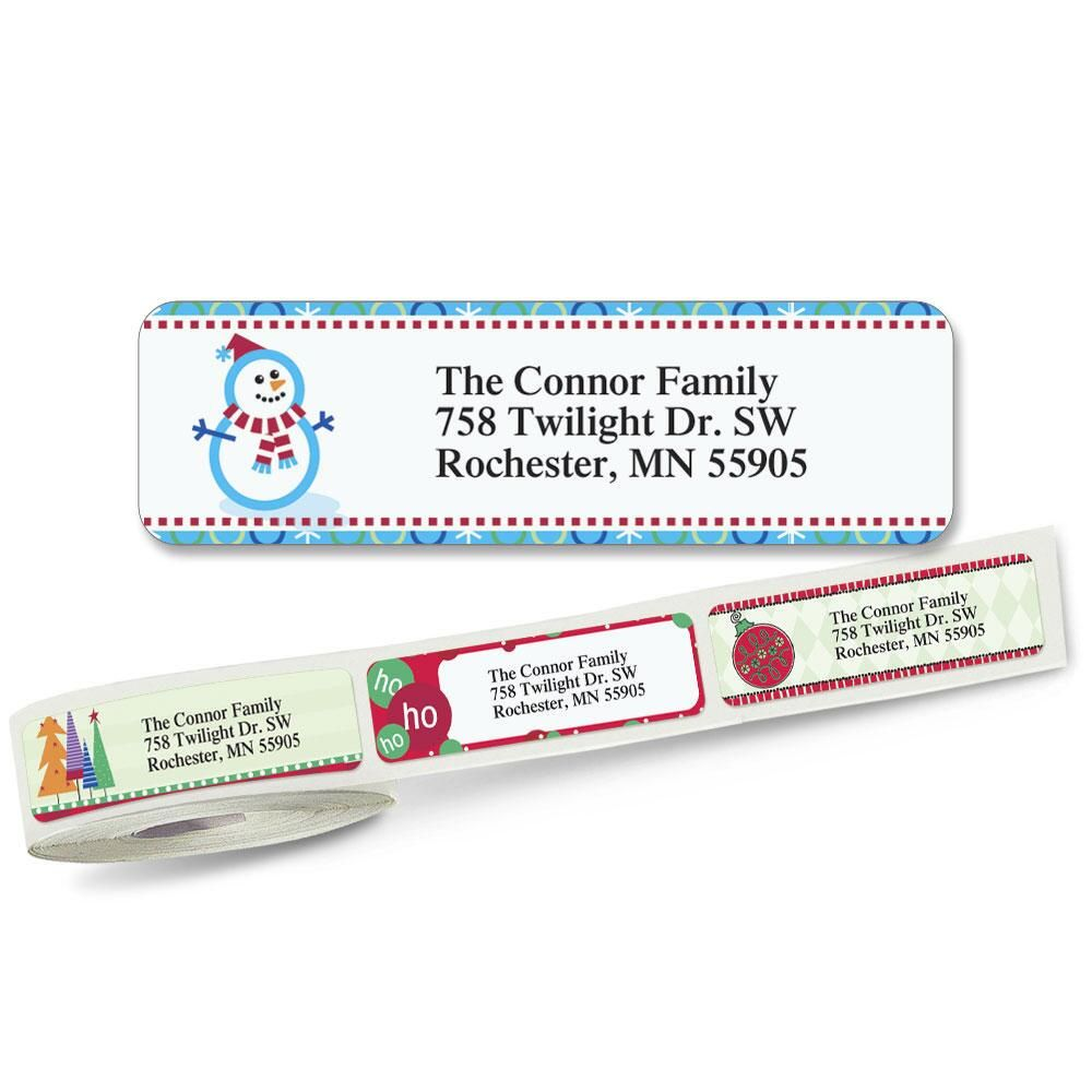 Christmas  Rolled Address Labels  (5 Designs)