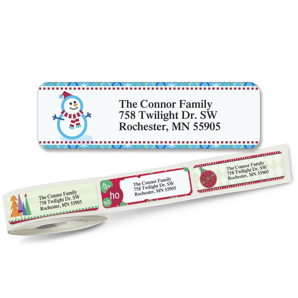 Christmas Rolled Return Address Labels  (5 designs)