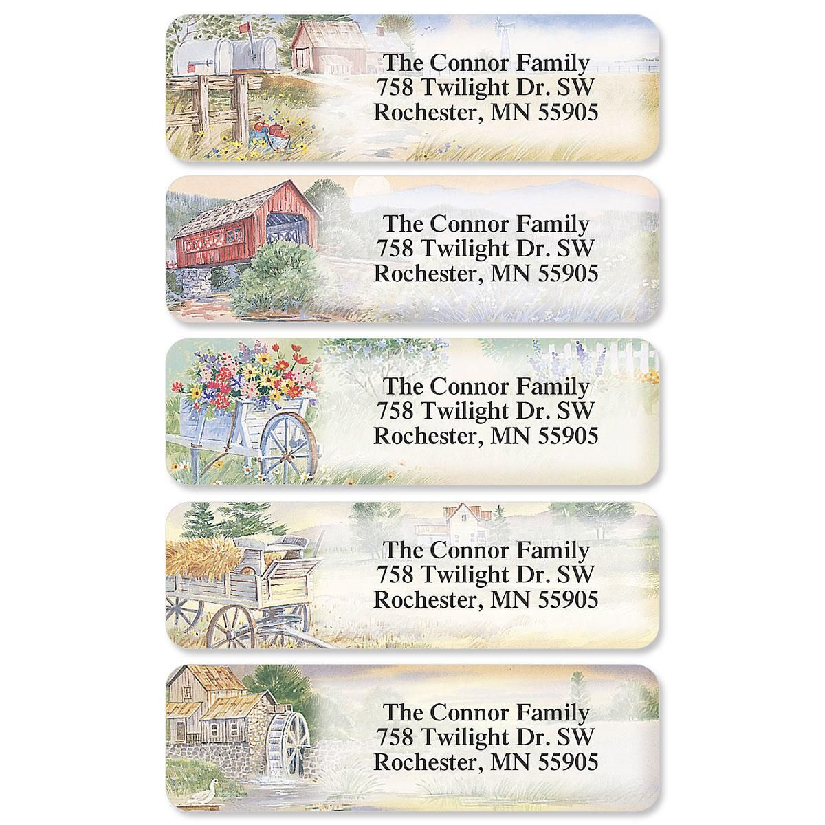American Countryside Rolled Return Address Labels (5 Designs)