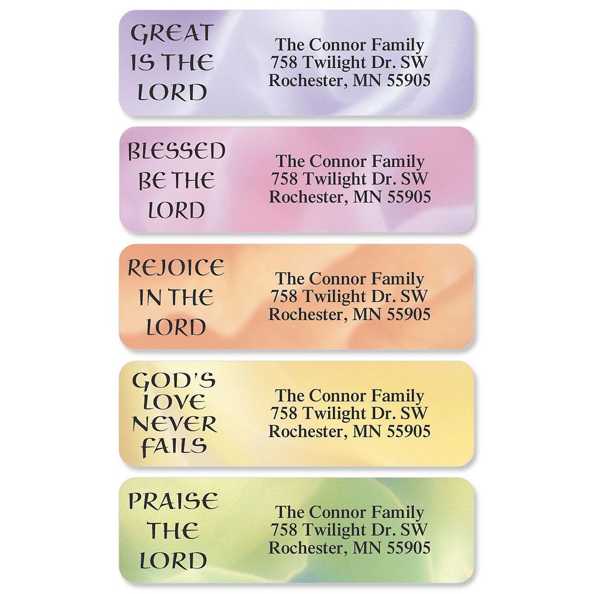 Praises Designer Rolled Address Labels  (6 Designs)