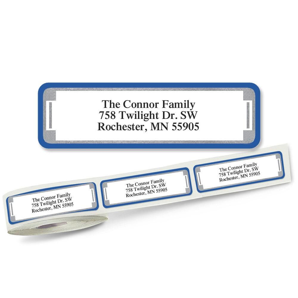 Blue and Silver Frame Rolled Return Address Labels