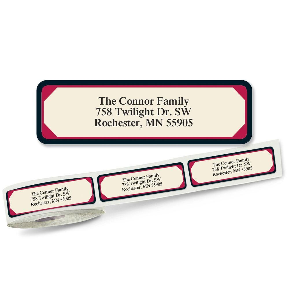 Red & Black Frame Rolled Return Address Labels