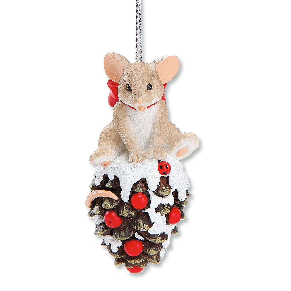 Mouse on a Pinecone Ornament by Charming Tails®
