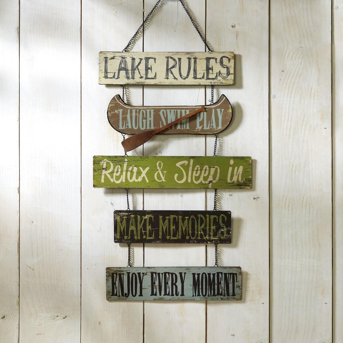Lake Rules Metal Sign