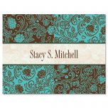Aqua & Chocolate Personalized Note Cards