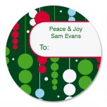 Raining Ornaments Round Oversized To/From Labels