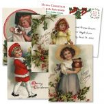 Christmas Victorian Holiday Vintage Postcards  (4 Designs)