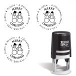 Snowman Family Christmas Self-Inking Round Stamp