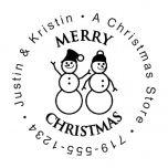 Snowman Round Address Stamp-Snowman SnowWoman-477871B
