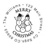 Snowman Round Address Stamp-Snowman SnowWoman Child-477871C