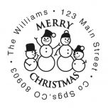 Snowman Round Address Stamp-Snowman SnowWoman 2 Children-477871D
