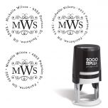 Round Monogram Self-Inking Address Stamp