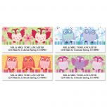 Owls with Flowers Deluxe Address Labels  (4 designs)
