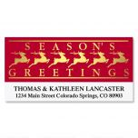 Golden Reindeer Foil Deluxe Address Labels