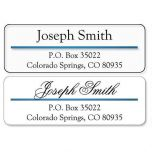 Address Label with Blue Foil Accent Line-Clear-C138