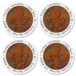 Fleur De Lis Round Address Label  (4 Designs)