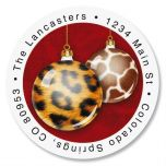 Animal Print Ornaments Round Address Labels