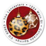 Animal Print Ornaments Round Address Labels