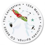 Dance of the Polar Bears Round Address Labels