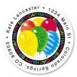 Happy Balloons Round Address Labels