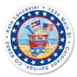 Sea to Shining Sea Round Address Labels