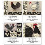 Black and White Roosters Select Address Labels  (4 Designs)