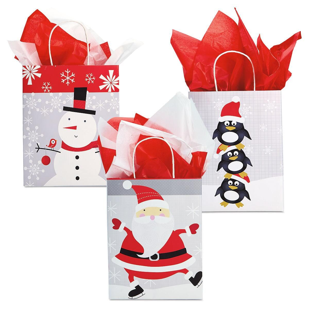 Red, White, & Silver Holiday Kraft Gift Bags