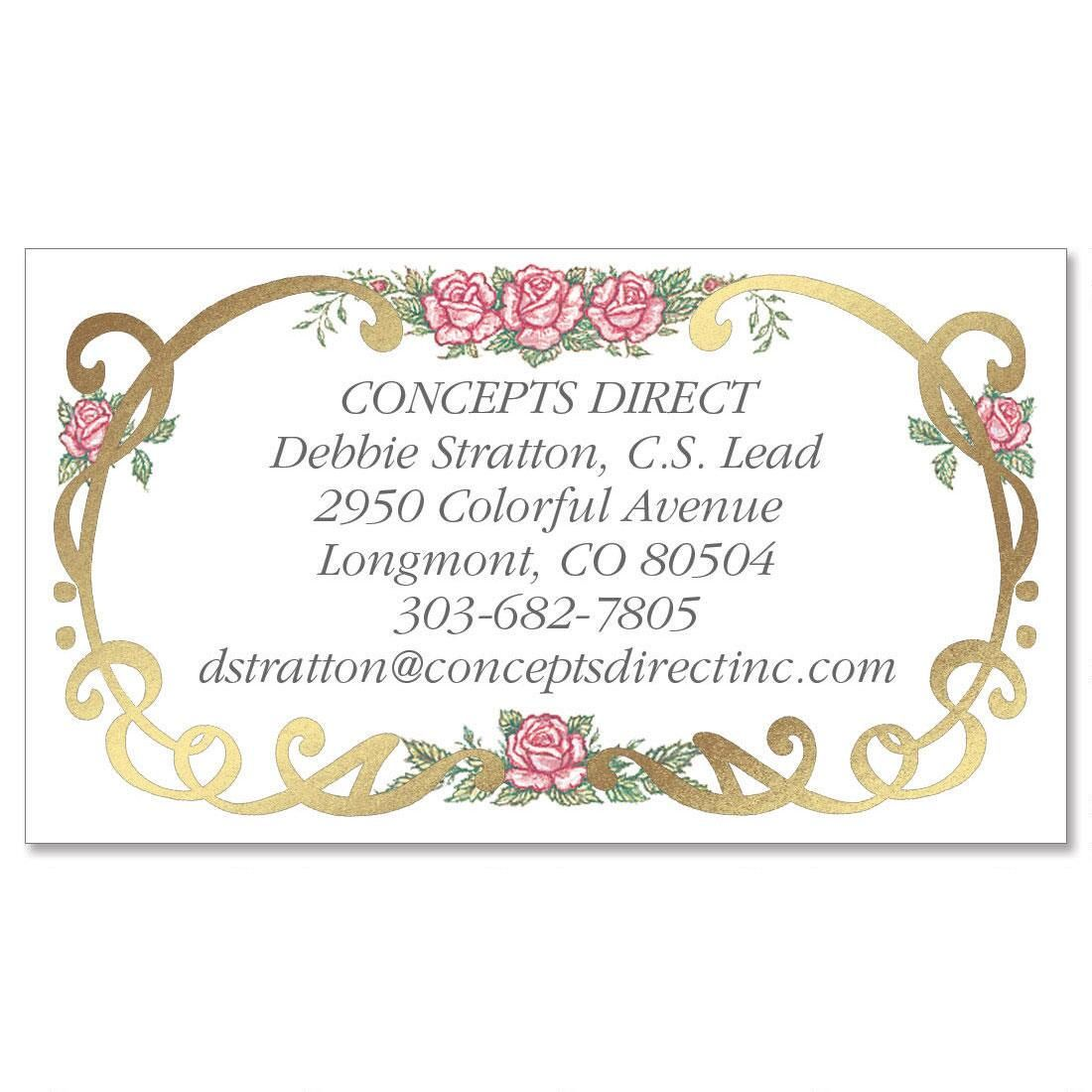 Rose Filigree  Foil Business Cards
