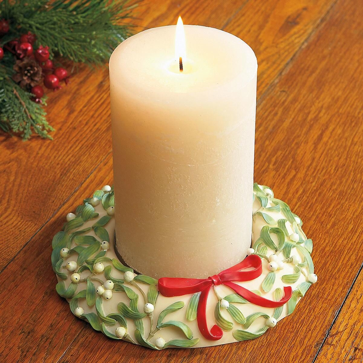 Mistletoe Candle Wreath