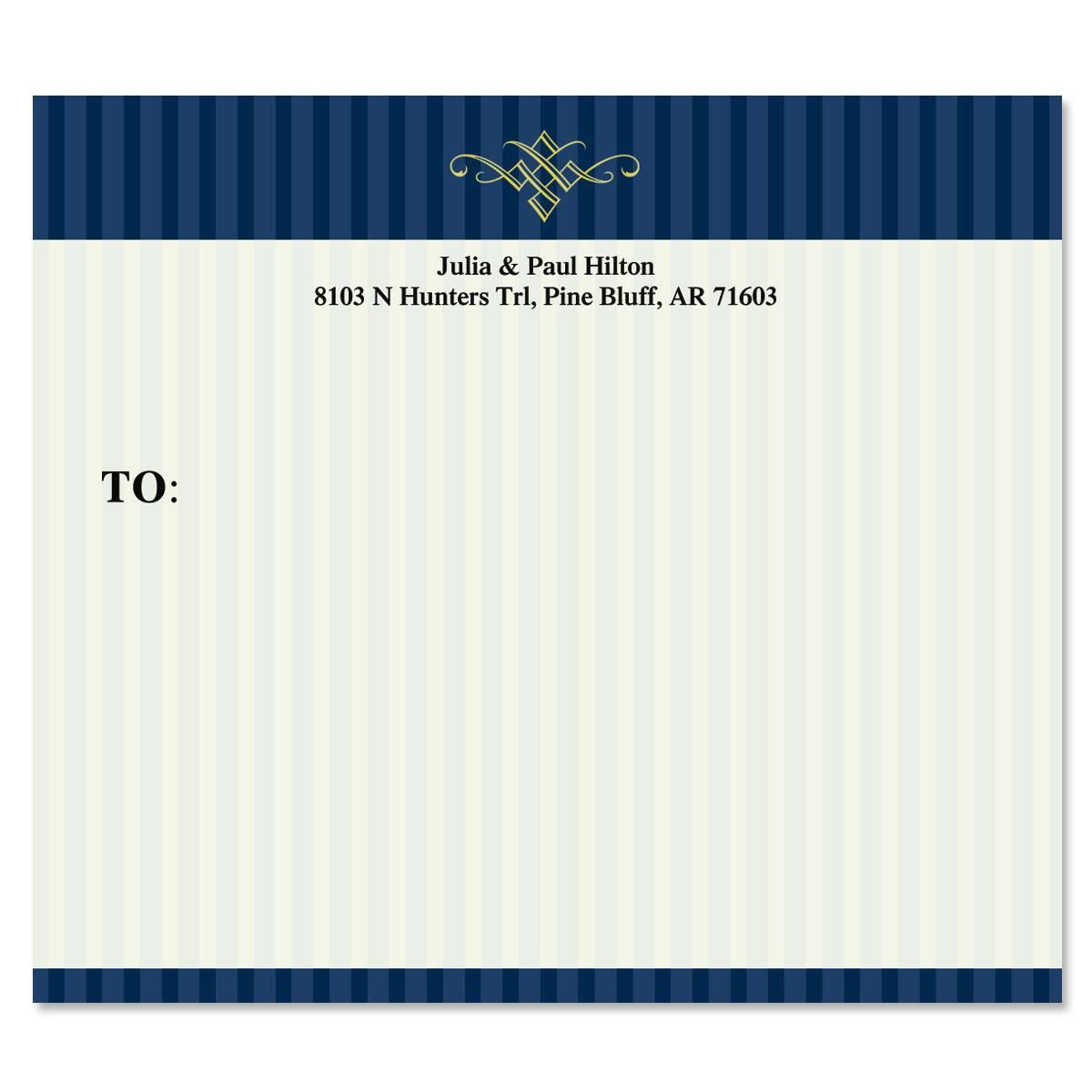 Navy Pinstripe  Package Labels