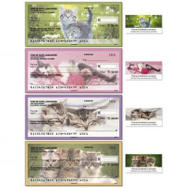 Cuddly Kittens Single Checks with Matching Address Labels