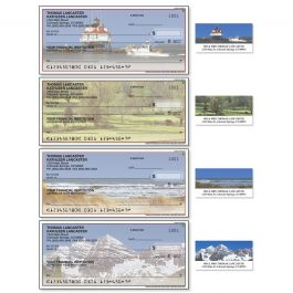 Scenes of America Single Checks with Matching Address Labels