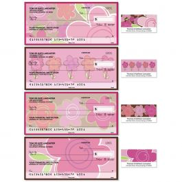 Shades of Pink Single Checks with Matching Address Labels