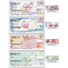 Floral Collage Duplicate Checks with Matching Address Labels