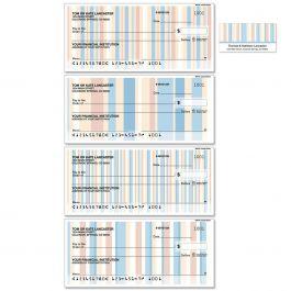 Coastal Stripes Personal Duplicate Checks with Matching Address Labels