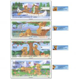 Bear Lodge Buddies Single Checks With Matching Address Labels