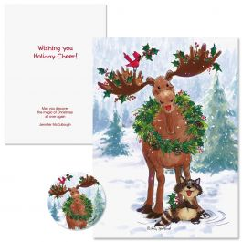 Merry Christmas Moose Christmas Cards -  Personalized