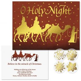 Three Kings Foil Christmas Cards -  Personalized
