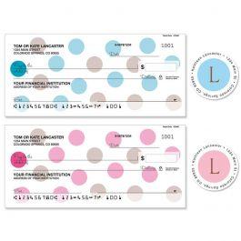 Pastel Dots Single Checks with Matching Address Labels