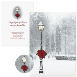 Snowy Holiday Christmas Cards -  Personalized