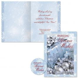 Icy Blue Glamour Christmas Cards -  Personalized